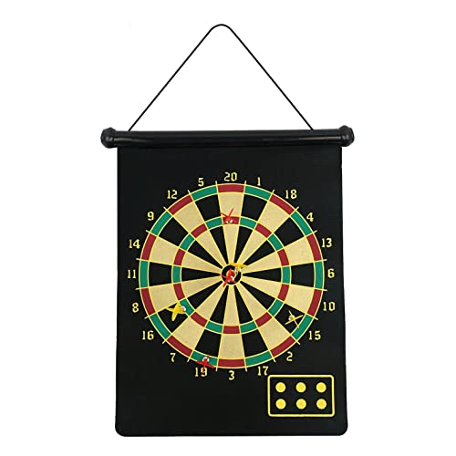 fusion Dartboard Roll Up with 6 Magnet Darts, Black