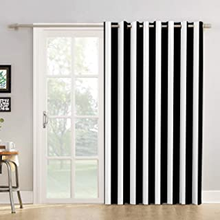 Futuregrace Blackout Curtains Black and White Stripe Pattern Livingroom Bedroom Darkening Window Draperies & Curtains for Sliding Glass Door Home Office Decor 52
