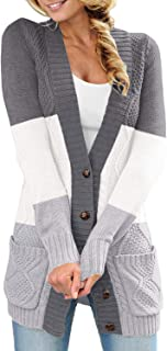 Womens Casual Long Sleeve Cable Knit Cardigans Button Down Sweater Coats