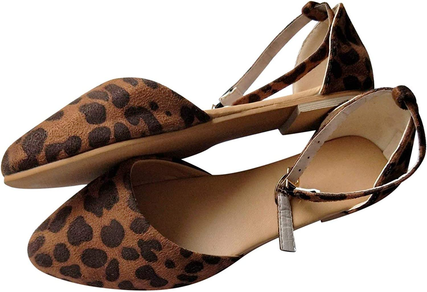Betterluse Shallow Flats Summer Women shoes Side with Leopard Pointed Toe Pumps Dress shoes Flat with Boat shoes
