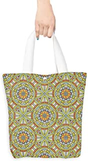 Portable Shopping Bag Seamless pattern Vintage decorative elements Hand drawn background Islam Arabic Indian ottoman motifs Perfect for printing on fabric or paper (W15.75 x L17.71 Inch)