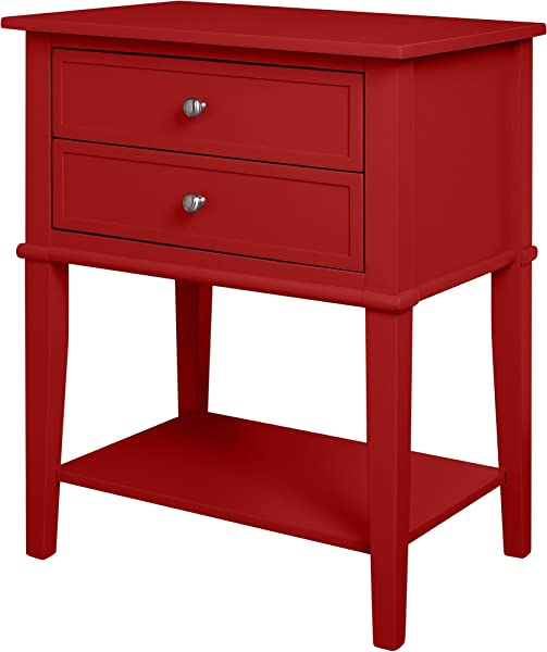 Ameriwood Home Franklin Accent Table With 2 Drawers Red