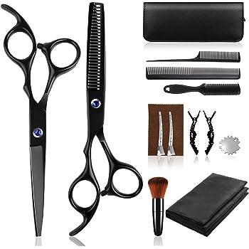 Sunandy Tijeras peluquería profesional tijeras de corte de pelo de acero inoxidable, chal de peluquería, pinzas de peine de afeitar adecuadas para hombres y mujeres,salón y hogar (14 piezas)