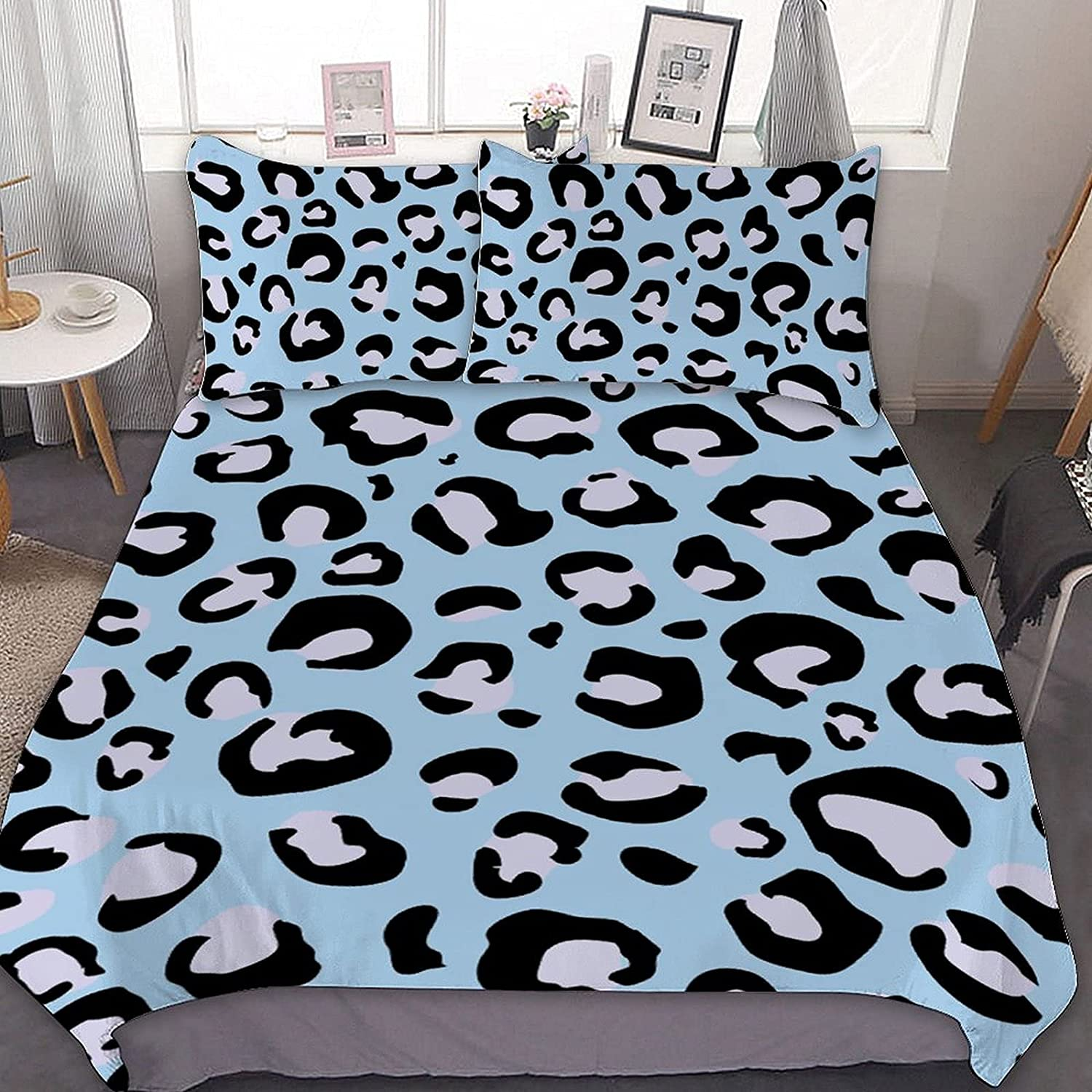 Leopard Blue 3 Piece Max 64% OFF Ranking TOP18 Comforter B for Bedding Polyester Sets