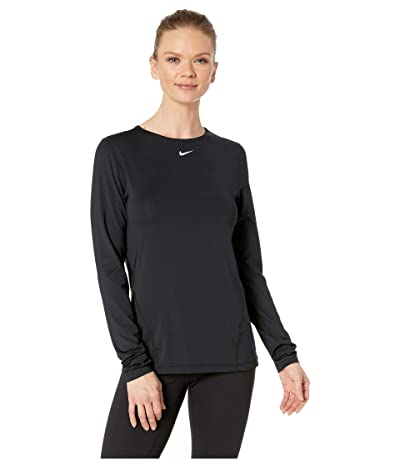 Nike Pro All Over Mesh Long Sleeve Top (Black/White) Women