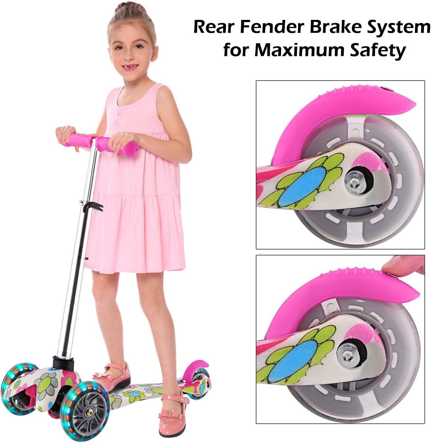 WeSkate Roller für Kinder Kleinkinder Scooter 3 Räder Verstellbare Mini Kinderscooter Kinderroller Dreiräder mit Blinkenden LED-Räder für Jüngere Mädchen ab 2 Jahre Rosa-Blumen