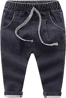 Baby Boys Ripped Jeans Elastic Waist Denim Pants Jeans for Little Boys Girls
