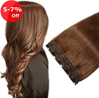 20''Long 50g Clip in Human Hair Extension One piece 5 Clips Soft Remy Hair Weft Extension Fast Shipping - Medium Brown #4