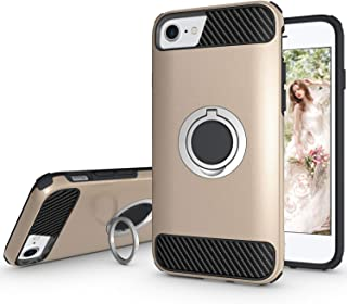 Ownest Compatible with iPhone 7 Case,iPhone 8 Case,iPhone 6 Case with Armor Dual with Heavy Duty Protection and Finger Ring Kickstand Fit Magnetic Car Mount for iPhone 7,iPhone 8-(Gold-5)
