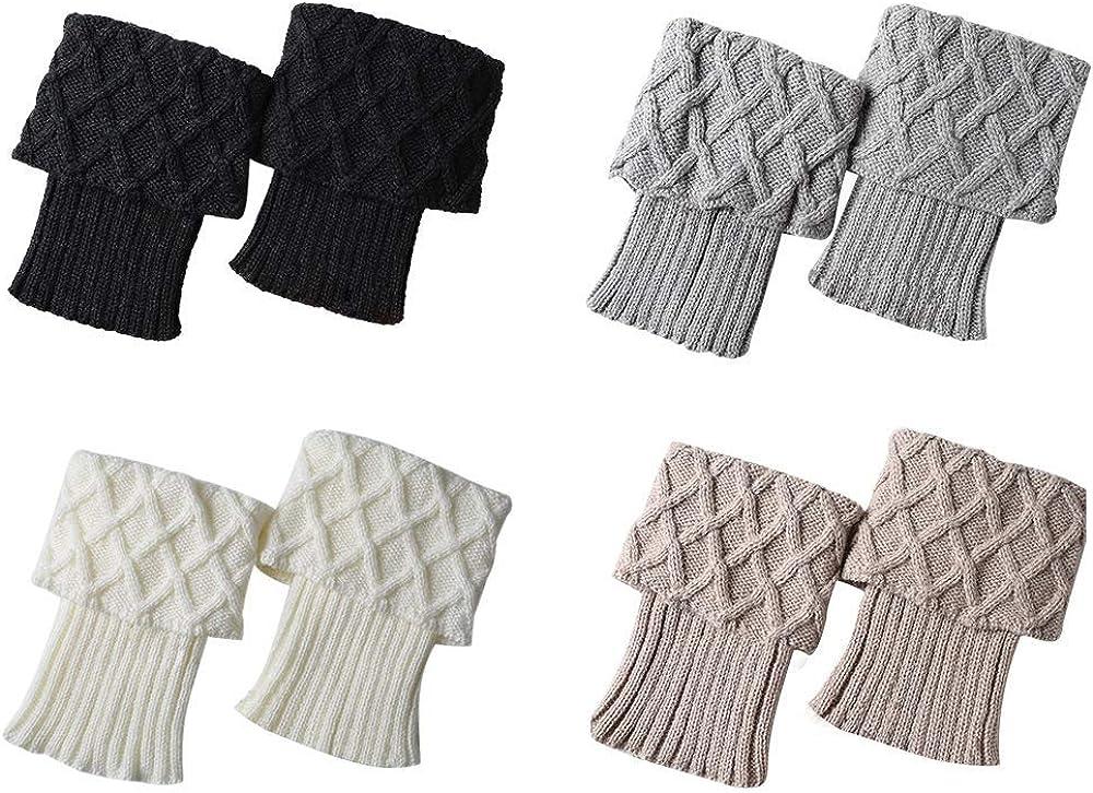 Durio Boot Cuffs for Women Crochet Womens Boot Cuffs Knit Short Leg Warmers for Women Winter Boot Cuffs for Women Wide Calf