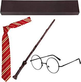 Blisstime Cosplay Wizard Wand Set Halloween Party Dress Up Costume Accessories Include Wand Tie Eyeglass Packed with Gift Box for Kids Teens Girls Boys