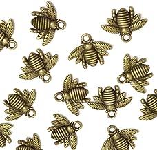 Honbay 50PCS Alloy Bee Honeybee Charm Pendants, DIY Craft Jewelry Making Accessory, 21x16mm (Antique Bronze)