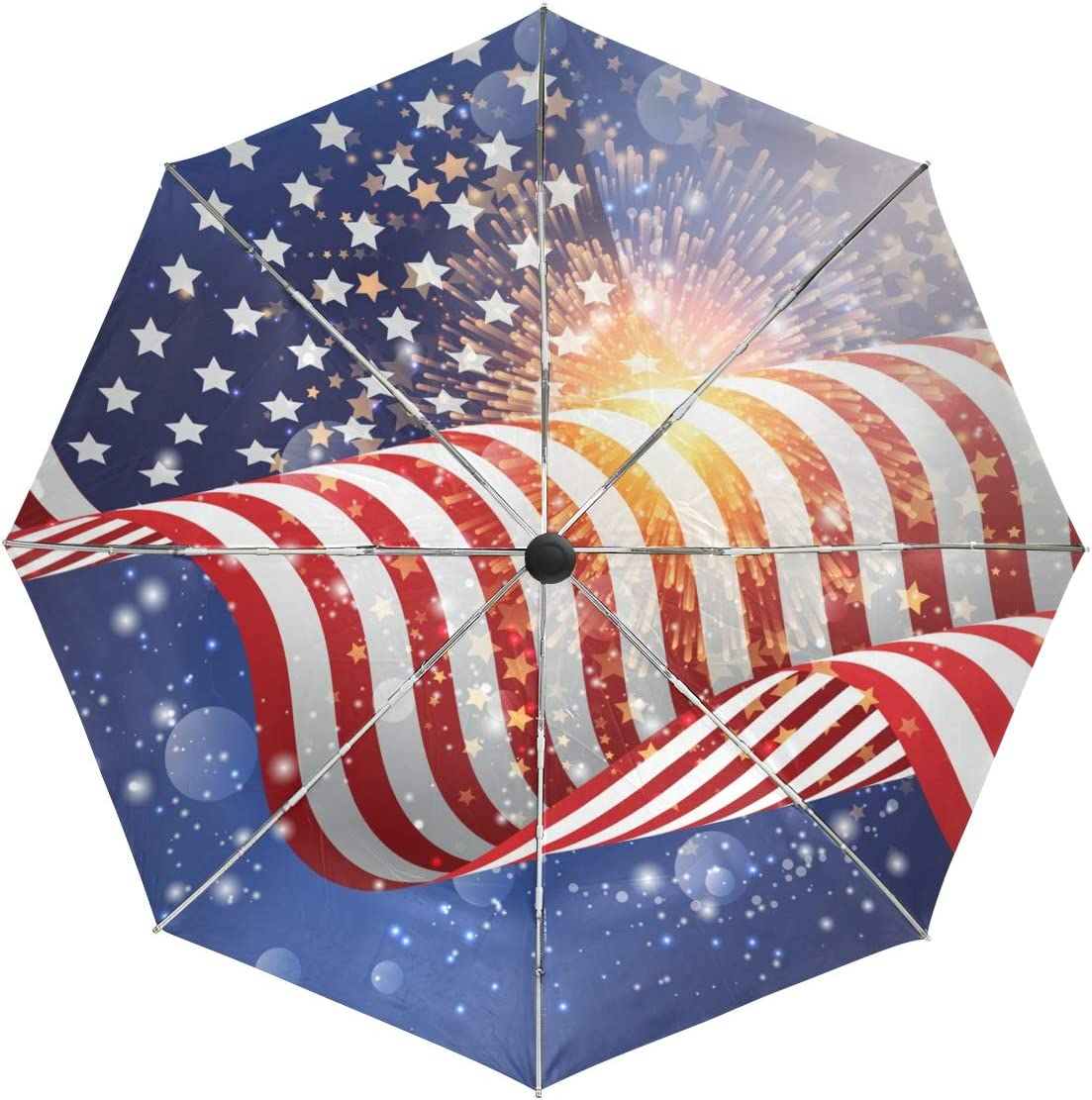 Umbrella Auto Open Max 88% OFF Close Selling Art 3 Abstract Fireworks Flag American