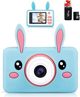 lilexo Kids Digital Camera, Gifts for Girls Age 3-8 Year Old, 8MP HD Children Shockproof Mini Video Camcorder, Toy Camera with Animal Silicone Cover, 16GB Memory Card Included (Blue Rabbit)