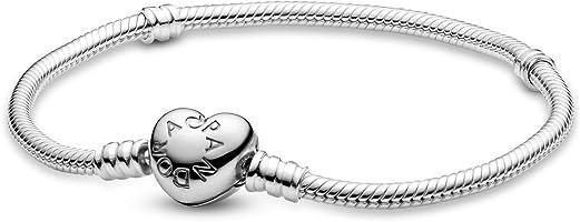PANDORA Women's Sterling Silver Heart Clasp Bracelet - 590719-21 - 21 cm / 8.26 Inch