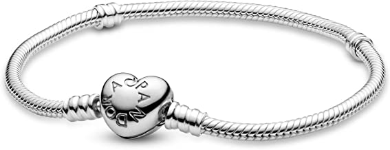 PANDORA Jewelry Moments Heart Clasp Snake Chain Charm Sterling Silver Bracelet, 7.5