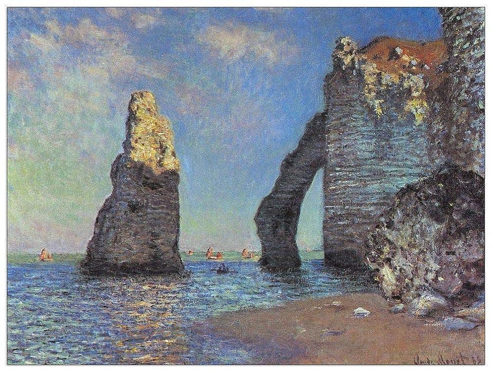 ArtPlaza TW91988 Monet Claude-The Rocky Cliffs of Etretat Decorative Panel, 35.5x27.5 Inch, Multicolored