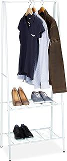 Relaxdays 10020566 Portant à vêtements SANDRA tringle cintre rangement 2 compartiments rangement chaussures bottes en méta...