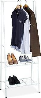 Rangement Chaussures INOX Argent//Noir Portant /à v/êtements /à roulettes Non-tiss/é PP 2 tringles 162 x 150 x 48 cm Relaxdays Porte-Manteaux 162x150x48 cm