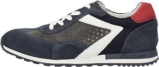 Nero Giardini - Zapatillas deportivas negras para hombre de ante azul y gris