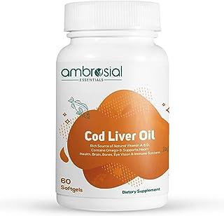 Ambrosial's Pure Cod Liver Oil 300mg | Omega 3 Fatty Acid | Vitamin A, & Vitamin D - 60 Softgels (Pack of 1)