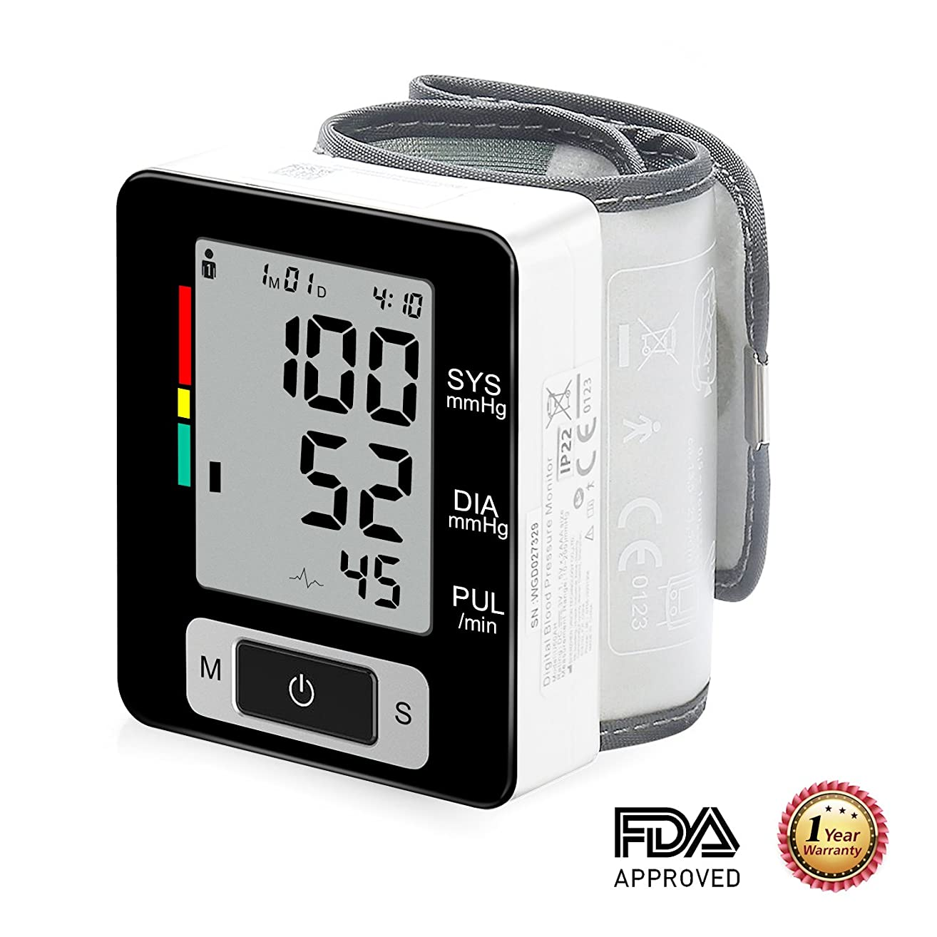 Blood Pressure Monitor WHO Classification Automatic Digital Wrist Blood Pressure Cuff 2 x 90 Memory Recalls Home Use with Portable Case Perfect for Elders
