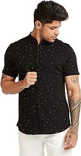 Iconic Men's 2300331 GEOMOE Knitted Regular Shirt, Black