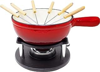 Big-BBQ - Fondue (hierro fundido esmaltado), color rojo