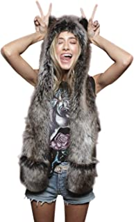 Animal Hat Spirit Hood Full Hat Scarf Pockets 3 in 1 Ear Flat Cap Hoodie Furry Gloves Paws Mittens Party Costume