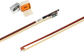 Classic Pernambuco Violin Bow 4/4 (Full Size) With FREE Bow Soft Bag and FREE Rosin for Bow Hairs and Ebony Frog - Well Balanced - Light Weight - Real Mongolian Horse Hair (Violin 4/4)