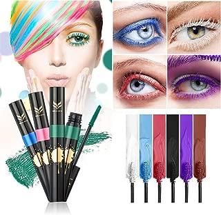 FantasyDay 6Pcs Colors Rainbow Colorful Mascara Waterproof Color Mascara Colorful Eyelash Makeup 3D Fiber Lash Mascara Volume Eye lash Lengthening Gel Perfect Gift for Girls Kids Women