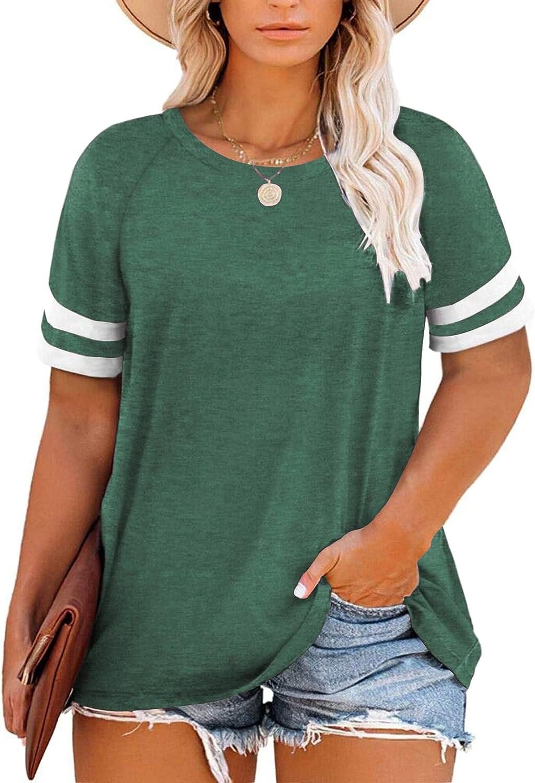 PLOKNRD Women's Plus-Size Shirts Raglan Striped Short Sleeve Tunic Tops