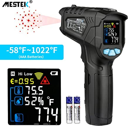 Infrared Thermometer Temperature Gun MESTEK Non-Contact Laser Digital Thermometer with Color LCD Screen -58  1022  -50  550   Adjustable Emissivity Humidity Alarm Hold Indoor Food Cooking Outdoor