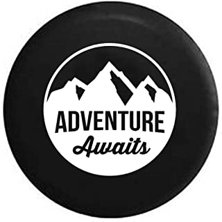 Adventure Awaits Mountain Scene Stamp Style Spare Tire Cover OEM Vinyl Black 27.5 in