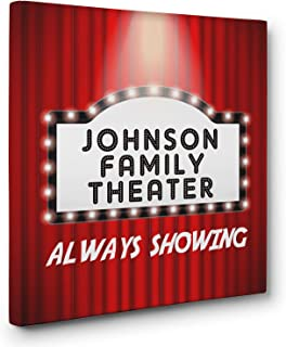 Personalized Theater Sign Cinema Movie Room Wall Art CANVAS Decor