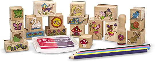Melissa & Doug Stamp-a-Scene Wooden Stamp Set: Fairy Garden, 20 Wooden Stamps, 5 Colored Pencils, and 2-Color Stamp Pad, 10.5