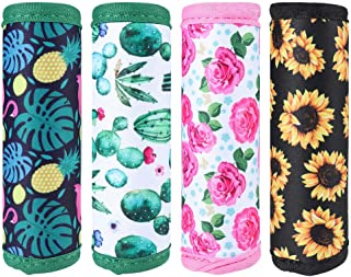 4PACKS Neoprene Handle Wraps Beautiful Flower Handle Grip Identifier Pad for Travel Bag Luggage Suitcase (Floral)