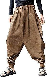 LILIZHAN Uomini Harem Pantaloni Giapponesi Casual Cotone Lino Pantaloni Uomo Jogger Pantaloni Cinesi Baggy Pantaloni