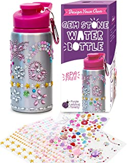 Purple Ladybug Decorate Your Own Water Bottle for Girls with Tons of Rhinestone Glitter Gem Stickers! BPA Free, 20 oz Kids Water Bottle Craft Kit - Cute Girl Gift, Fun DIY Kids Arts & Crafts Activity