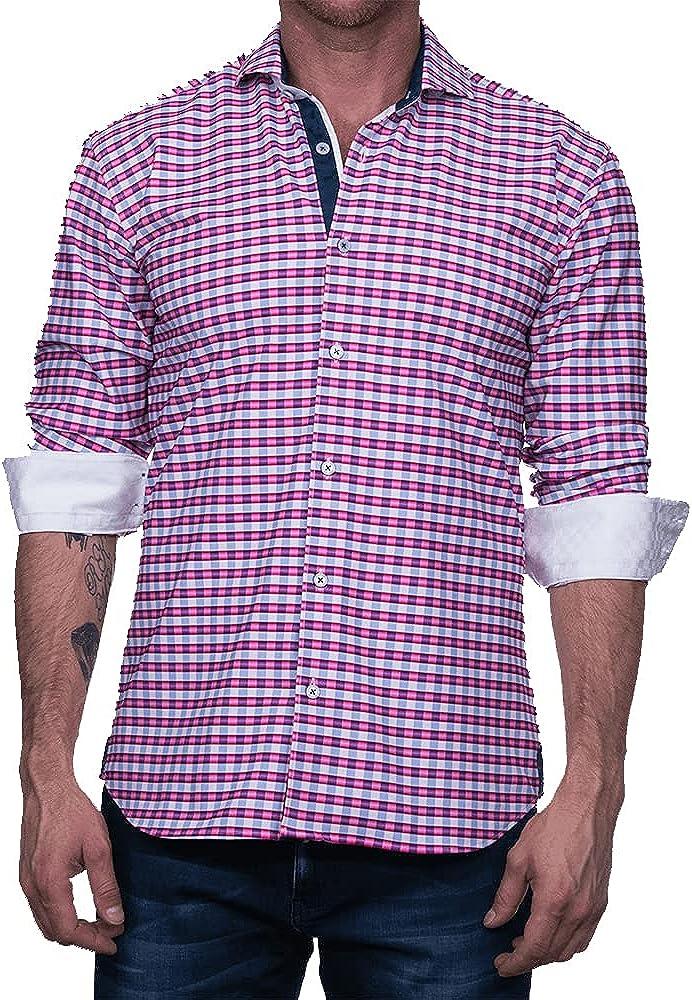 Maceoo Mens Designer Dress Shirt LS - Stylish & Trendy - Wall Street Performance C3-323 - Shaped Fit