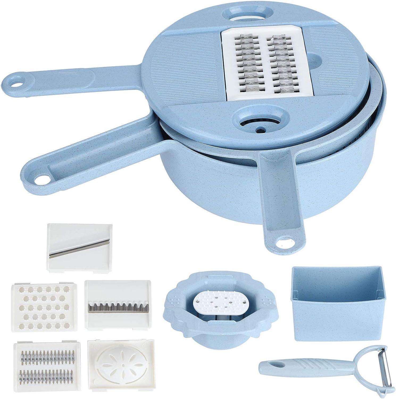 Trituradora de alimentos, picadora multifunción manual vegetal rallador de patatas utensilios de cocina azul