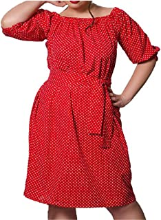 Loose Plus Size Dresses Women Big Large Size Polka Dot Dress Sashes Vestidos