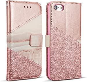 ZCDAYE Wallet Case for iPhone 6/6S,iPhone 6/6S Cover,Premium PU Leather [Magnetic Closure] [Ceramic Pattern] [Card Slots] [Kickstand] Folio Flip Case Cover for iPhone 6/6S - Rose Gold