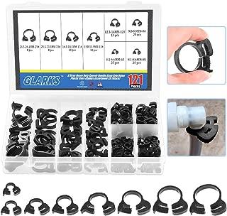 Glarks 121Pcs 8 Size Heavy Duty Black Double Gripping Nylon Hose Clamps Set, 6.1-26.1mm Plastic Snap Ratcheting Clamps Assortment Kit (Black 121Pcs)