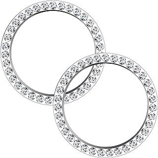 Sponsored Ad - 2Pcs Crystal Rhinestone Ring for Car Decor, Car Bling Emblem Sticker Car Bling Decor Start Button Accessori...