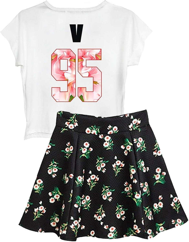 BabyHealthy BTS Suga Jin Jimin Jung Kook Printed TShirt + Floral Skirt Two Piece Suit