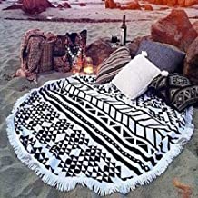"FLORICA Round Beach Tapestry Beach Mat Yoga Mat Beach Towel Picnic Rugs Meditation Table Cover Cloth Cotton Bohemian Mandala Sunscreen Shawl Wall Hanging Decoration 59"" (HRW-11-14)"