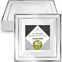 """Disposable Plastic Dinner Plates - 40 Pack Hard Square 10"""" Plate with Elegant Silver Double Trim for Wedding, Birthday, and Party - by Elite Selection"""