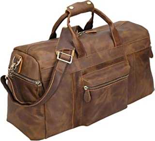 Polare 20'' Full Grain Cowhide Leather Weekender Duffle Bag Overnight Luggage Travel Bag With Premium YKK Zippers