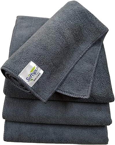 SOFTSPUN Microfiber Cloth - 4 pcs - 40x40 cms - 340 GSM Grey- Thick Lint & Streak-Free Multipurpose Cloths - Automoti...